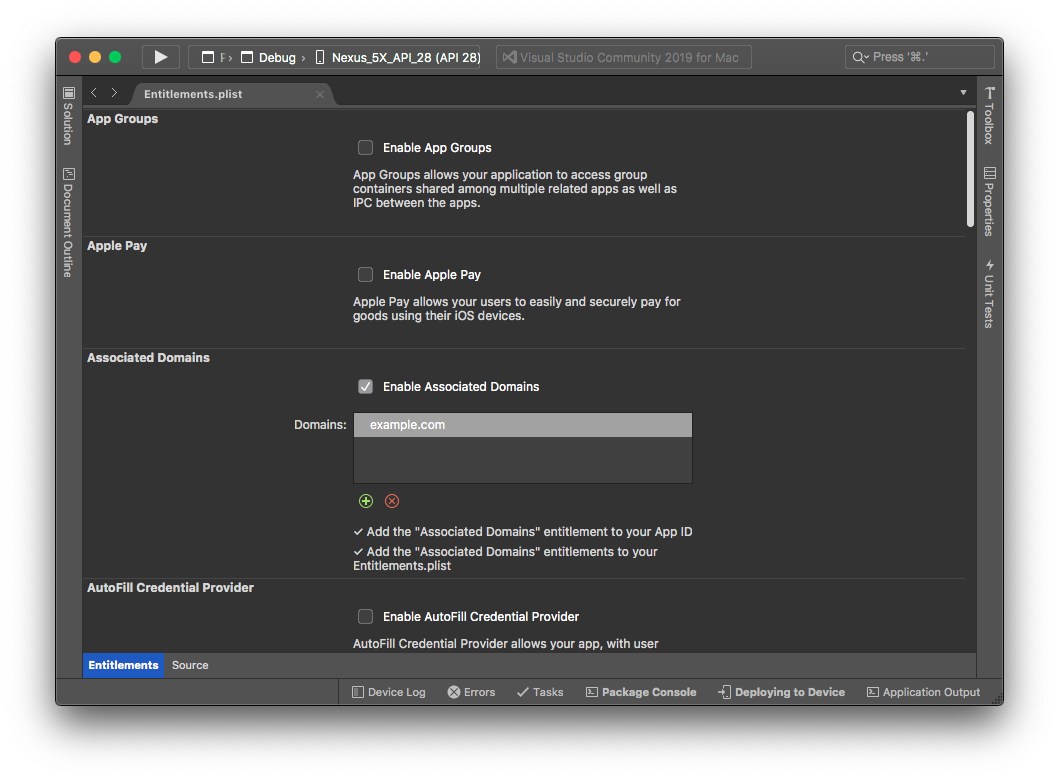 Entitlements editor in VS for Mac